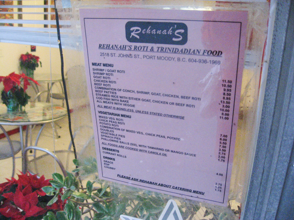 Rehanah's Roti menu from 2008.