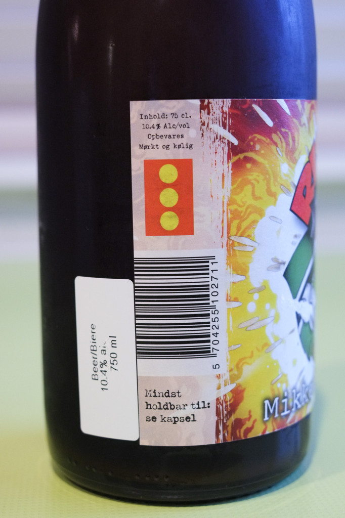 The left side of the label.